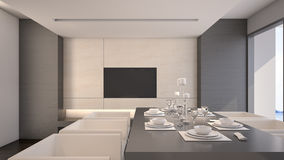 Dining room in luxury house / 3D Rendering Stock Image