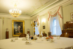 The dining room in the manor stock photography