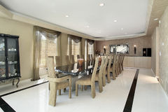 Dining room with marble table Royalty Free Stock Image