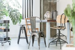 Dining room with metal furniture Stock Photo