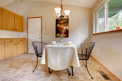 Dining room with metal kitchen table set Stock Photo