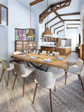 Dining room with a modern country-style kitchen. Royalty Free Stock Photo
