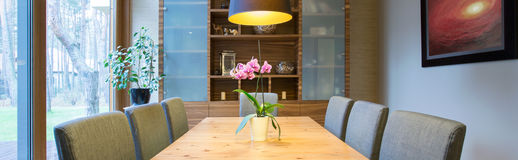 Dining room in modern design Royalty Free Stock Photo