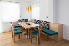 Dining room modern furniture with petrol material and maple and. Dining room modern furniture with petrol material stock photo