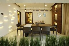 Dining room in modern home stock photography