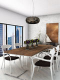 Dining room. A modern interior dining room with city background Royalty Free Stock Photo