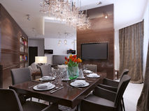 Dining room modern interior Royalty Free Stock Photo