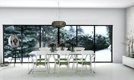 Dining room. A modern interior dining room with winter view royalty free illustration