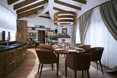 Dining room in a modern style Stock Images
