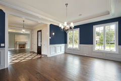 Dining room in new construction home Stock Photos
