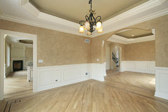 Dining room in new construction home. With recessed ceiling Royalty Free Stock Image