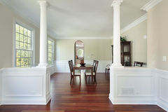 Dining room in new construction home Stock Photo