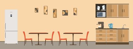 Dining room in the office. There are tables, orange chairs, kitchen cabinets, a fridge, a microwave, a kettle and a coffee machine in the image. There is a stock illustration
