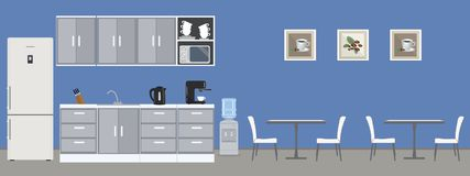 Dining room in the office. There are tables, white chairs, kitchen cabinets, a fridge, a microwave, a kettle and a coffee machine in the image. There are also Stock Photo