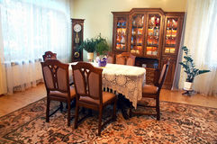 Dining room in old style. With clock royalty free stock photos