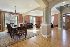 Dining room with open floor plan Royalty Free Stock Photo