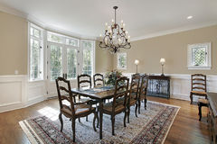 Dining room with patio entrance Royalty Free Stock Image