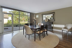 Dining room with patio view Stock Photos