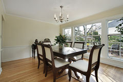Dining room with patio view Royalty Free Stock Images