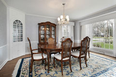 Dining room with picture window Royalty Free Stock Photo