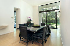 Dining room with picture window Stock Photo