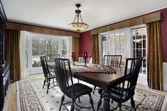 Dining room with picture window stock photography