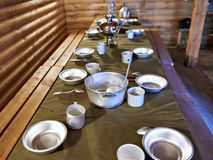 Dining room of russian partisans of World War II Royalty Free Stock Photography