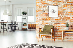 Dining room with rustic furniture Royalty Free Stock Image