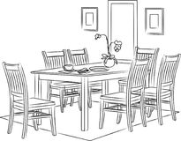 Dining Room Sketch and Outline Vector Illustration. For many purpose such as architecture and interior magazine, blog, website, coloring book, print on paper Royalty Free Illustration
