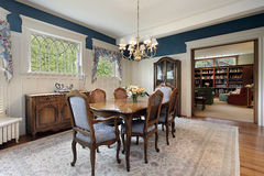 Dining room in suburban home Stock Images