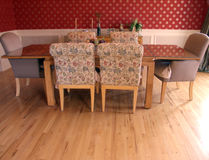 Dining room table. Dining room set in modern suburban home Stock Photos