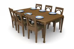 Dining Room Table. A set of dining room table and chairs with dinner plates on the table isolated on white Stock Photo