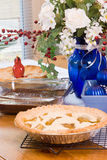 Dining Room Table Filled with Christmas Dinner Desserts Stock Photo