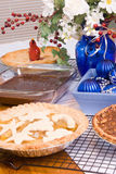 Dining Room Table Filled with Christmas Dinner Desserts Stock Photos