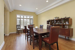 Dining room with tiered ceiling Stock Photography