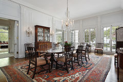 Dining room in traditional home Stock Image