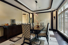 Dining room with tray ceiling Stock Photography