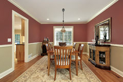 Dining room with two toned walls Royalty Free Stock Image