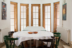 Dining room. View of a mountain cabin dining room Stock Image