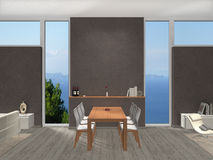 Dining room with viw to the sea Royalty Free Stock Image