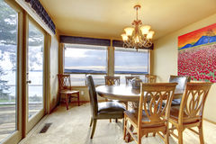 Dining room with water view Stock Photography