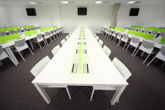 Dining room with white tables and chairs Royalty Free Stock Photo