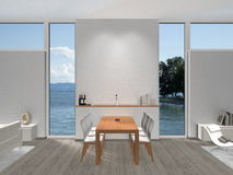 Dining room with windows Royalty Free Stock Image