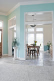 Dining Room. With windows and furniture Royalty Free Stock Images