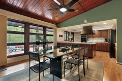 Dining room wood ceiling panels Stock Images