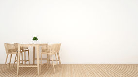 Dining room on wood design - 3D Rendering. For background and artwork Stock Photography