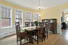 Dining room with wood furniture Royalty Free Stock Image