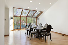 Dining room with wood trimed skylights Royalty Free Stock Image