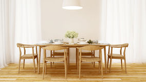 Dining room wooden style and clean design  - 3D Rendering. For artwork Stock Photos