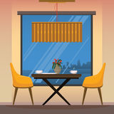 Dining room with yellow chairs. Interior of dining room with yellow chairs Royalty Free Stock Images